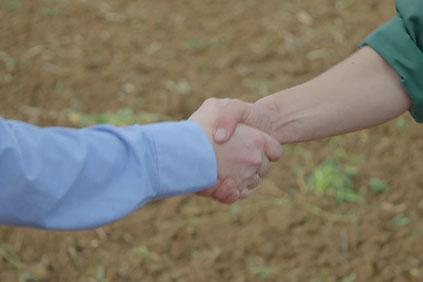 Handschlag auf dem Feld